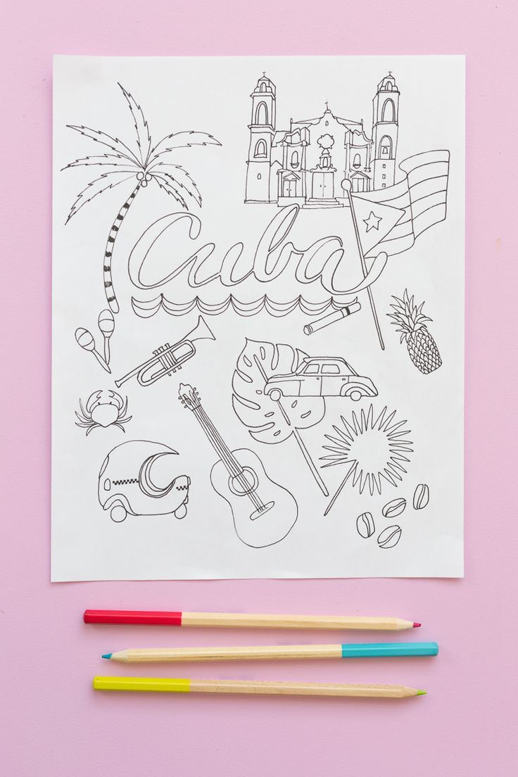 Free printable santa wish list coloring page tickled peach studio - Cuba Coloring Pages