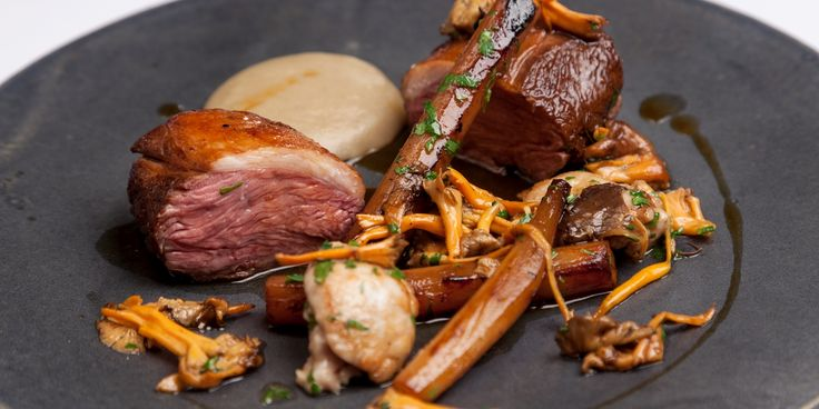 Richard Corrigan serves his pan-roasted lamb rump recipe with a number of delightful accompaniments, including wild mushrooms, salsify and Jerusalem artichoke purée.