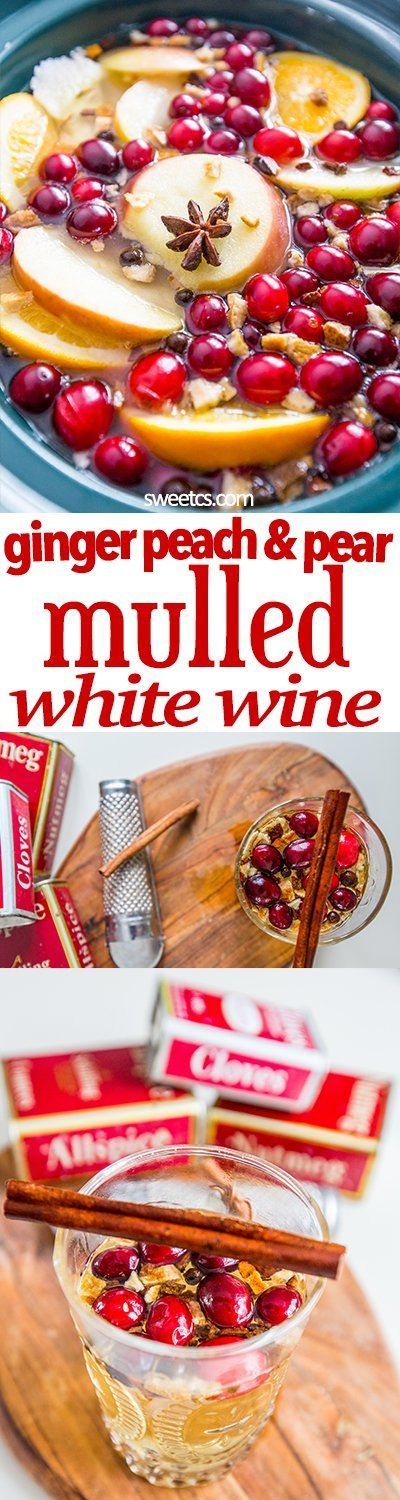 This mulled white win recipe has tons of ginger, peach, pear and other fruit flavors- so easy and delicious!