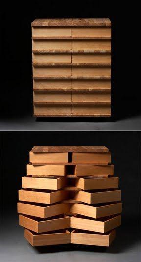 Storage furniture with a twist ... wonderful design. Created by Danish designer Jakob Joergensen.