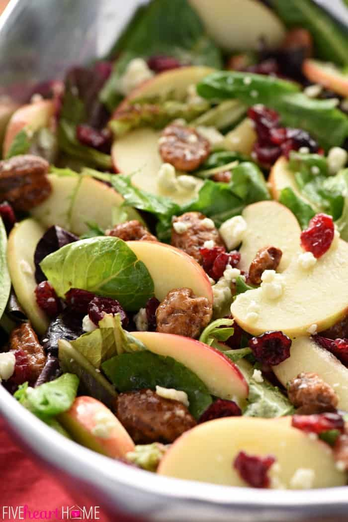 Holiday Honeycrisp Salad This Gorgeous Christmas Salad Or Thanksgiving Salad Is Full Of Flavor And Te In 2020 Thanksgiving Salad Salad Recipes Holidays Salad Recipes