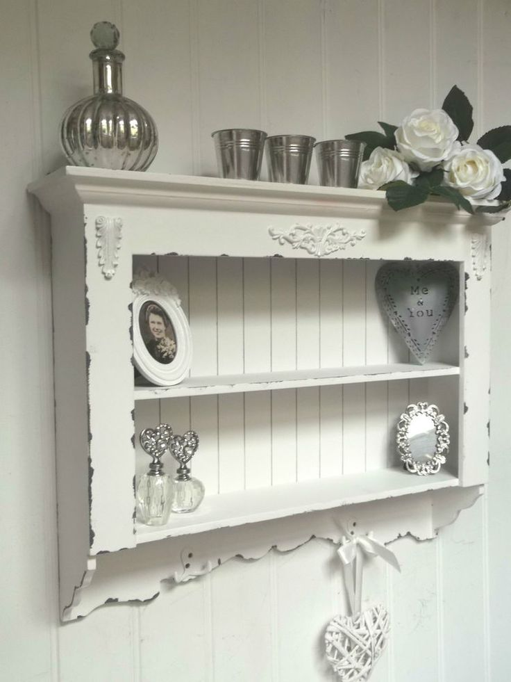 Shabby Chic Wall Unit Shelf Storage Cupboard Cabinet Hooks French Vintage Style in Home, Furniture & DIY, Furniture, Cabinets & Cupboards | eBay