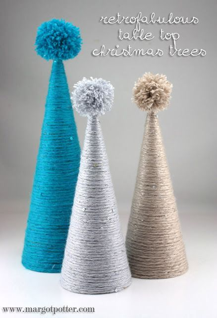 DIY Retrofabulous Yarn Wrapped Tabletop Christmas Trees #crafts #diy #yarn #christmas #trees