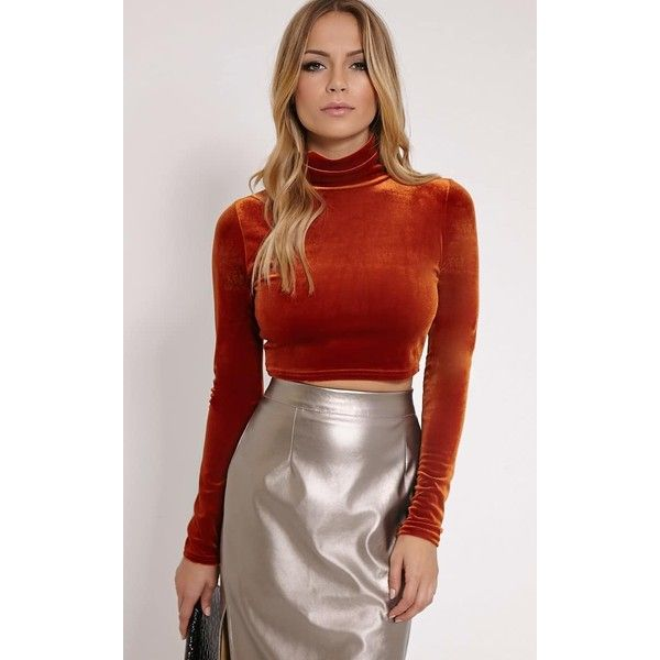 Simona Rust Velvet High Neck Long Sleeved Crop Top ($10) ❤ liked on Polyvore featuring tops, orange, long sleeve tops, red velvet top, velvet top, red crop top and velvet crop top
