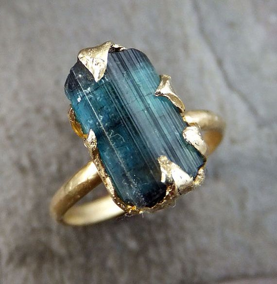 Raw Blue Tourmaline Indicolite Gold Ring Rough Uncut Gemstone tourmaline recycled 14k stacking cocktail statement byAngeline    I created this setting