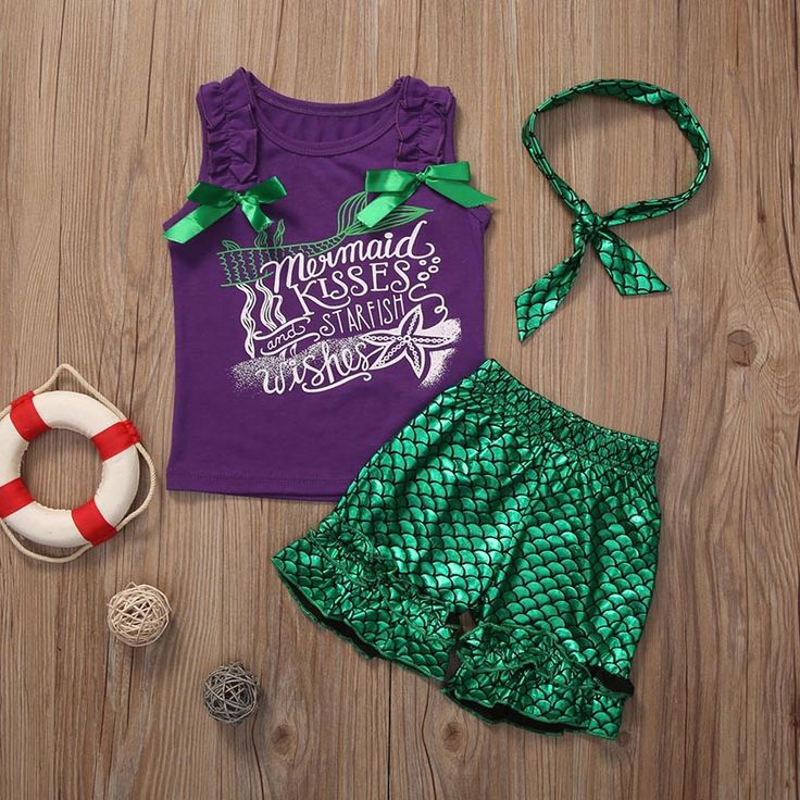 2017 New Toddler Kids Clothes Set Baby Girls Mermaid Suit Sleeveless T-shirt Tops +Hot Pants Shorts 3PCS Outfit Children Clothes #Affiliate