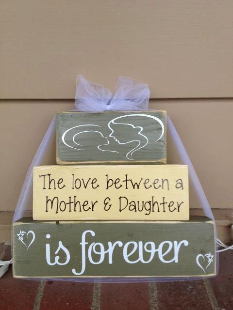 Mother's Day Wood block set love between mother and daughter is forever mom birthday grandma gift home decor birthday