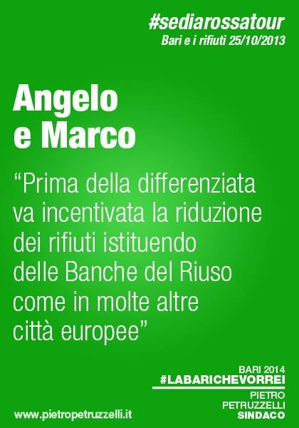 """Angelo e Marco suggeriscono: """"Prima della differenziata va incentivata la riduzione dei rifiuti istituendo delle Banche del Riuso come in molte altre città europee"""" #labarichevorrei http://ht.ly/rxQxu"""