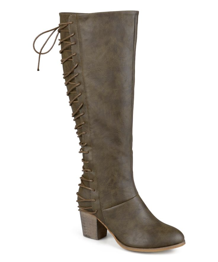Look what I found on #zulily! Journee Collection Olive Amara Lace-Up Back Wide-Calf Boot by Journee Collection #zulilyfinds