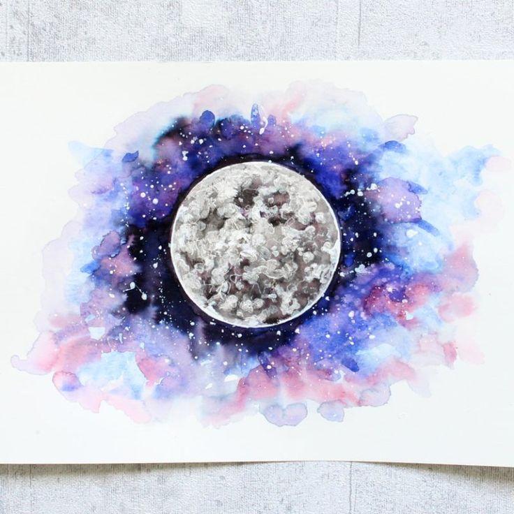 Galaxy Planeten Aquarell Watercolor Universe Moon …