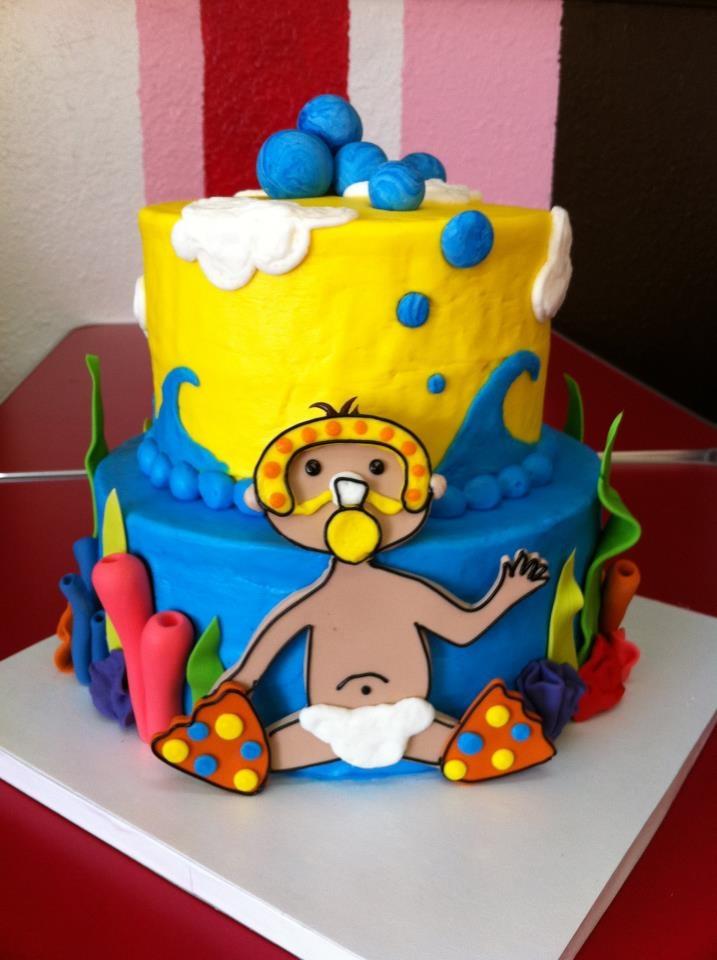 Underwater theme baby shower cake