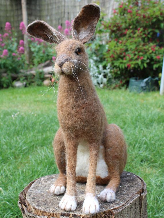 Needle Felted Hare Sculpture reserved by OkieFolky on Etsy