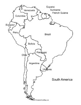 A printable map of South America labeled with the names of each country. It is ideal for study purposes and oriented vertically. Free to download and print