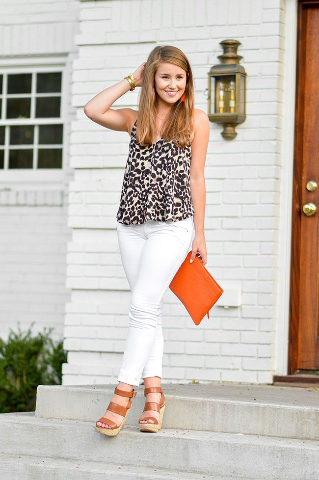 leopard halter top + white skinny jeans + orange clutch | how to style an leopard print top | how to wear a leopard print top | summer fashion | summer style | fashion for summer | style ideas for summer | warm weather fashion | fashion tips for summer || a lonestar state of southern