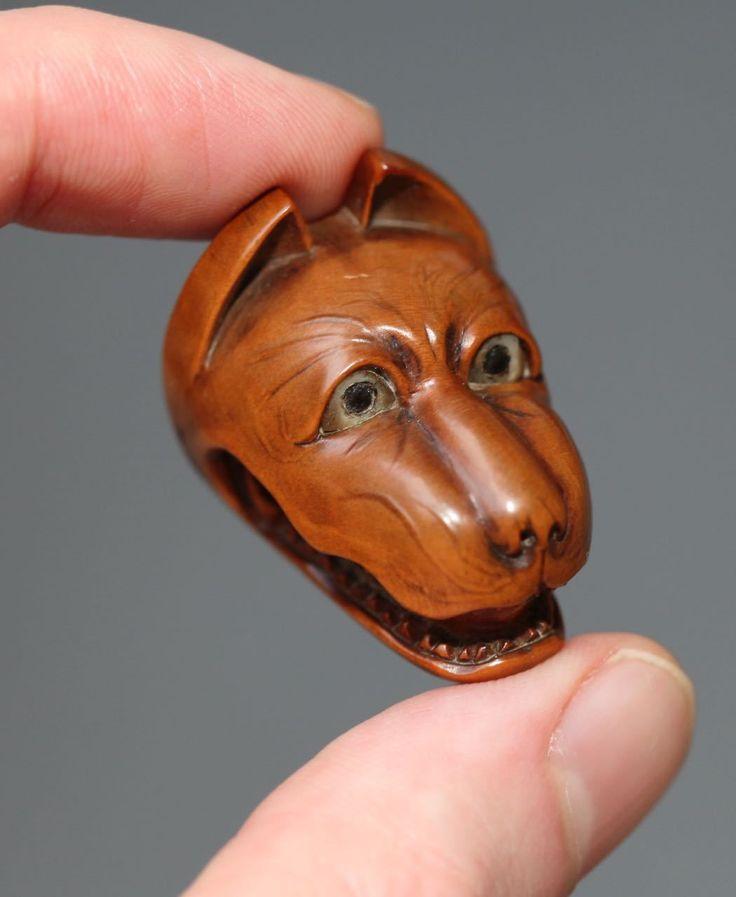 Antique Japanese carved boxwood Netsuke, rare mythical fox mask, signed, 19thC. | eBay