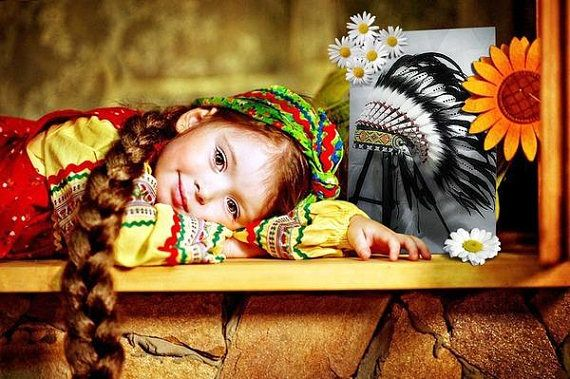 Monochrome Baby DOUBLE FEATHERS Headdress Baby Native