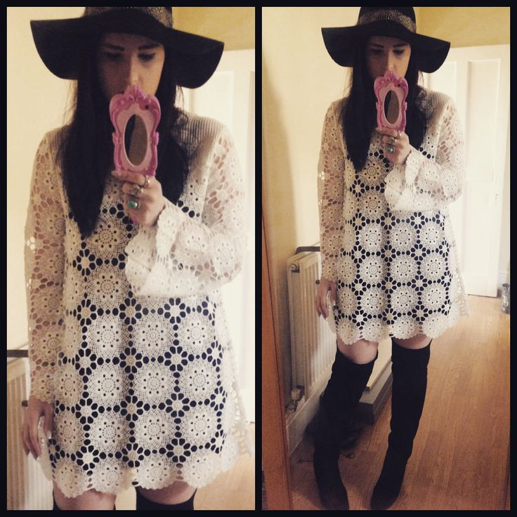 70s style this crochet topshop dress over the knee boots and a floppy hat