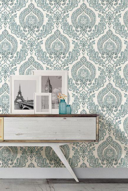 WallPops! Kensington Damask Blue Peel & Stick Wallpaper