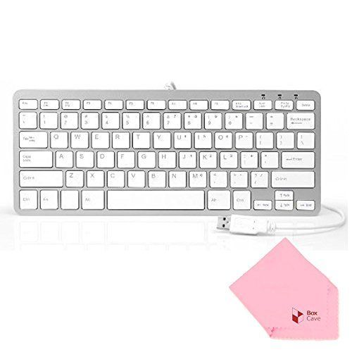 Boxcave 78 Key Wired USB Mini Slim Keyboard for PC, Mac, Notebook, Laptop, Netbook, PS3, Xbox360, Windows 8 7 XP Vista (White,w/cable)