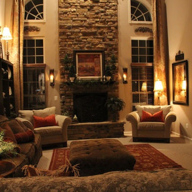 Beautiful two story stacked rock fireplace fireplaces Two story living room decorating ideas