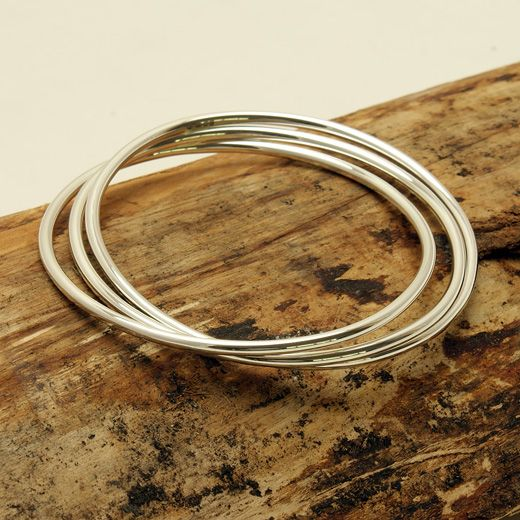 Andea Sterling Silver Three Bangle Set - Add shimmer to your outfit
