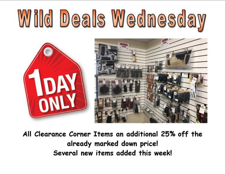 Wild Deals Wednesday - 1 Day Only - Additional 25% off Clearance Corner Items! - http://www.gungrove.com/wild-deals-wednesday-1-day-only-additional-25-off-clearance-corner-items/