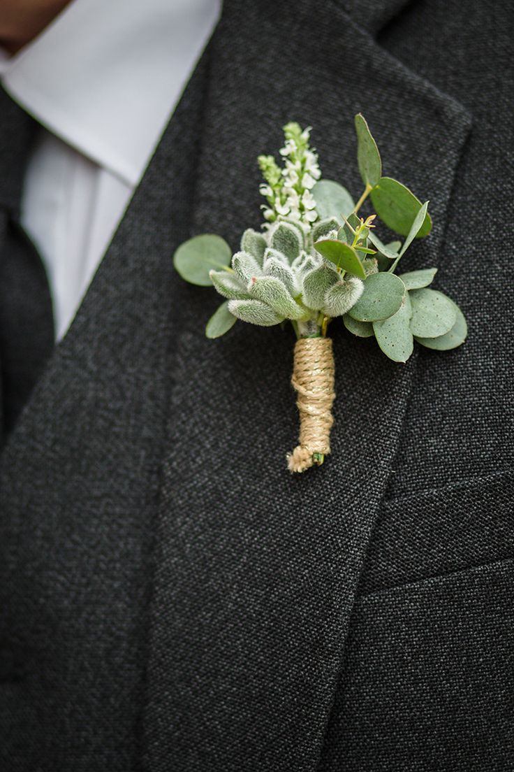 Succulent Twine Buttonhole Groom Magical Gold Burgundy 1930s Wedding http://laurenmcglynnphotography.com/