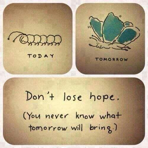 Geef nooit op, blijf geloven in jezelf.  Morgen ontpopt zich een nieuwe dag vol nieuwe kansen en mogelijkheden.  Ga ervoor! JIJ bent t waard!