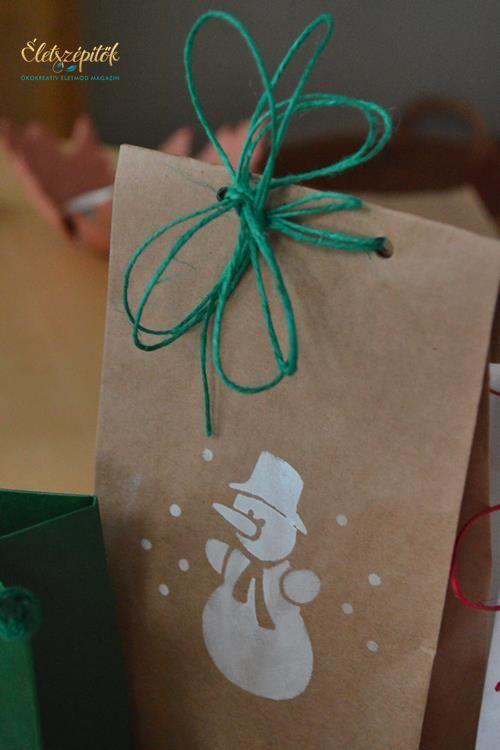 Kreatív ajándékcsomagolás: karácsonyi stencilekkel mintázott csomagolóanyagok | Életszépítők