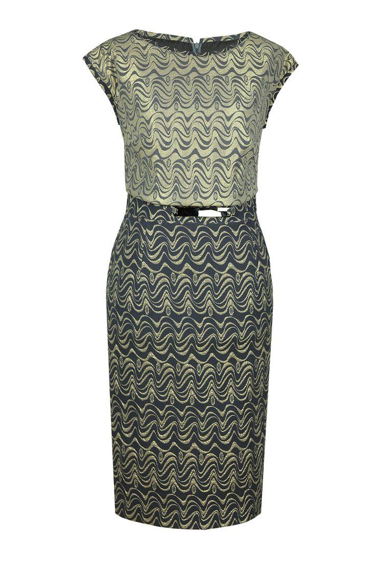 Suknia Scarlett żakrad popielato-złoty Semper#dress #metallic #jacquard #silver #grey #fashion2016 #fashionbrand #occasionaldress #wedding #elegance #elegant #evening #designer #brand #gold