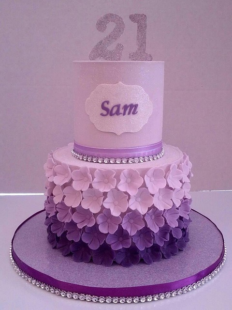 """Would be perfect for any age for a """"purple"""" lover! 21st Birthday Cake, via Flick"""