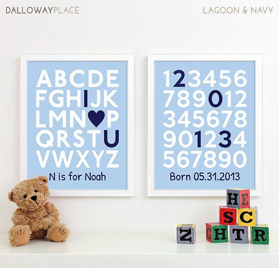 Baby Boy Wall Art for Boys Nursery Art, Baby Birth Print Baby Name Art, Boy Birth Announcement Nursery Decor, Nursery Alphabet Art, 8x10