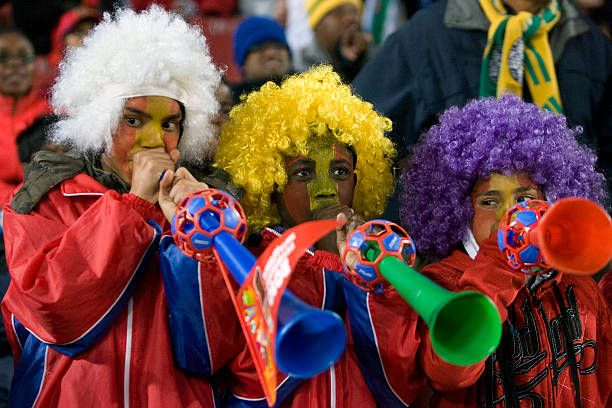 Young Fans Blow Their Vuvuzelas World Cup Young Fan