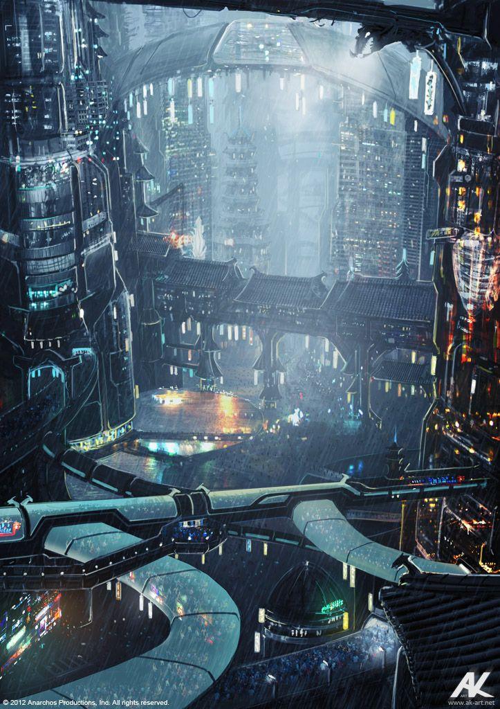 de combinatie van een futuristichse stad met oude eigenschappen erin is prachtig