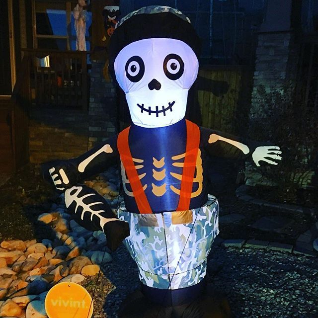 How cute is this inflatable Halloween Skeleton Fisherman from @canadiantire?  I am going to enjoy this for years to come!  I've always been more of a 'cute' than 'scary' Halloween person! (shop via link in bio)⠀ .⠀ .⠀ .⠀ #halloween #skeleton #decoration #inflatable #fisherman #fish #camo #halloweendecorations #homedecor #outdoor #canadiantire #cute #airblown #outdoordecor #fishing #cutehalloween #notscary #reusable #fishskeleton #gonefishing #ghostlake #happyhalloween