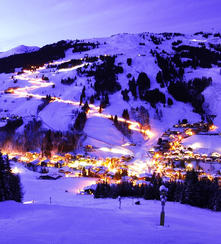 night skiing in Saalbach-Hinterglemm, Salzburg, Austria  Saalbach and St. Anton are roughly 2-3 hours drive from Munich, Ischgl is better reached via Zurich.