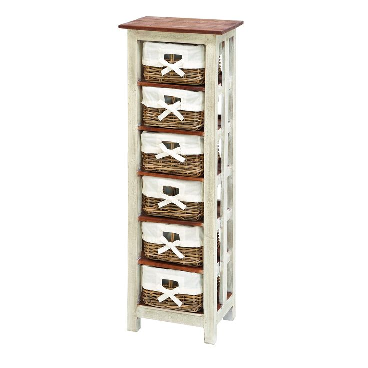 Maximize corner storage space in bathrooms, washrooms or anywhere else with this storage cabinet tower. Its six rattan baskets have washable linen covers.