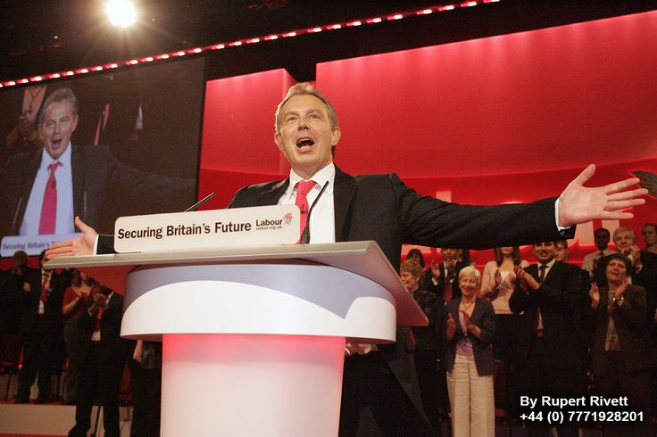 Tony Blair giving a speach at the Labour party conference.