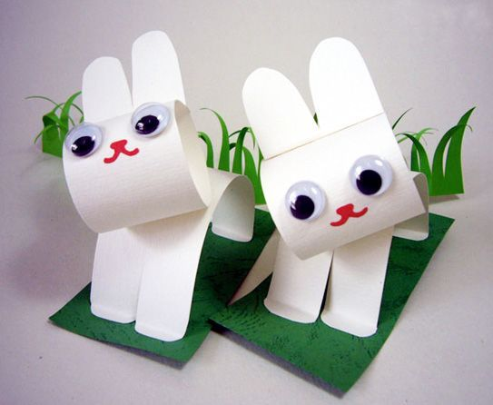 How to make easter bunnies with construction paper and for Easy crafts for kids with construction paper
