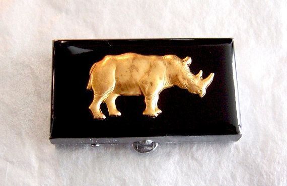 Pill Box Steampunk Case Rhino Neo Victorian Safari Rectangle Metal Box op Etsy, 28,65 €
