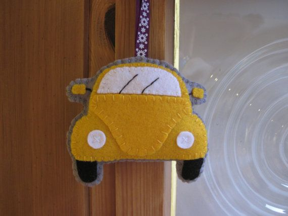 VW Beetle Plush Yellow Hanging Ornament Gift for by GracesFavours