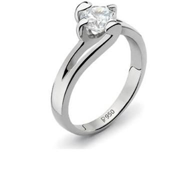 Platinum solitaire ring holding a 0.99ct diamond in a prong setting.