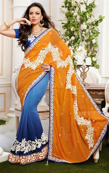 Picture of Gorgeous Mustard and Shaded Blue Indian Wedding Saree