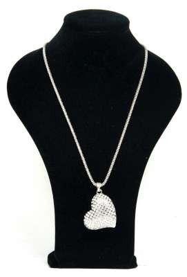 Zilverkleurige halsketting met hart bedel belegd met strass | Kettingen | DamesTic