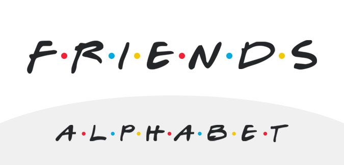 An alphabet in the style of the classic TV show Friends