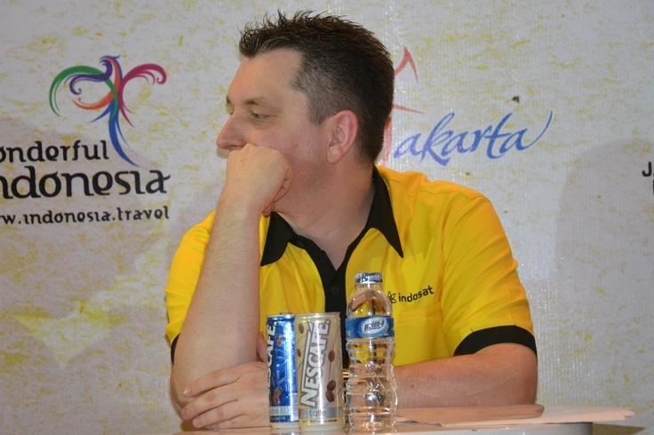 Erik Meijer (Direktur dan Kepala Eksekutif Komersial, Indosat) hadir pada press conference Java Rockin' Land 2013. (Andika)