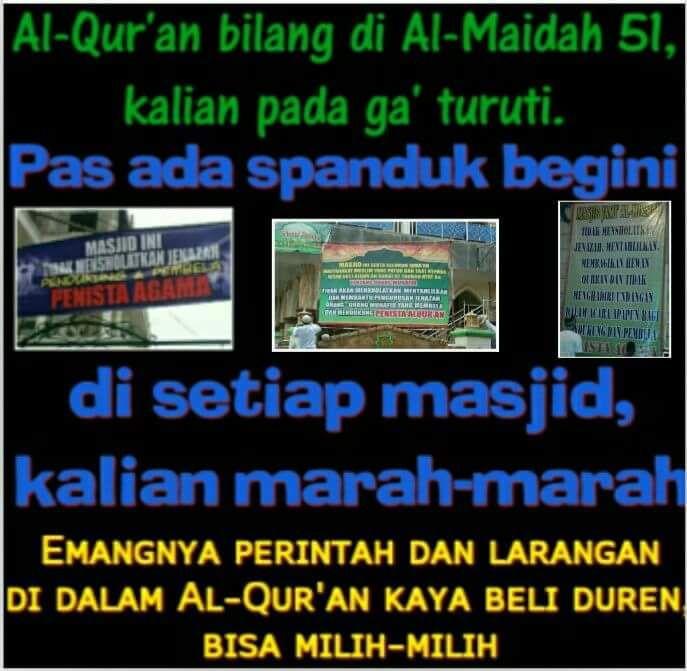 """Bahaya pemikiran sekulerliberal dan pluralis itu nyata !  Al-Qur'an (Al-Baqarah : 208) yang bilang : """"...Masuklah kamu dalam Islam secara keseluruhan..."""" Emangnya boleh milih-milih..??   Jangan separo-separo tinggalin aja sekalian Al-Qur'an Nabi-Nya dan ajaran-Nya itu baru namanya ksatria."""