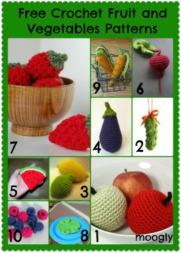 Free Crochet Amigurumi Fruit and Vegetable Patterns -- make (possibly themed) banners by linking together