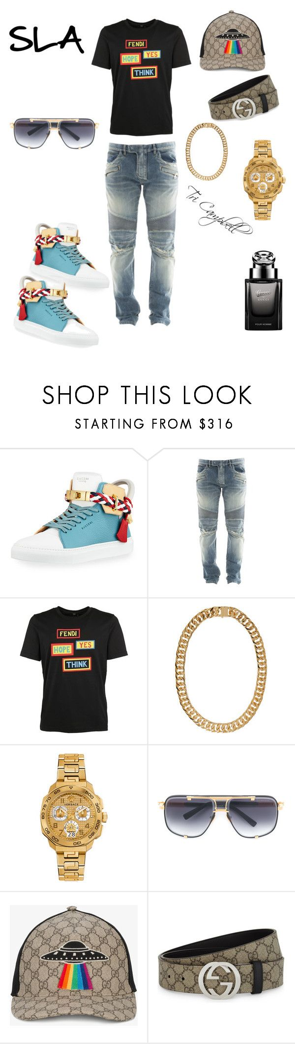 """I'm Gucci"" by tritheslaqueen on Polyvore featuring BUSCEMI, Balmain, Fendi, AMBUSH, Versace, Dita and Gucci"