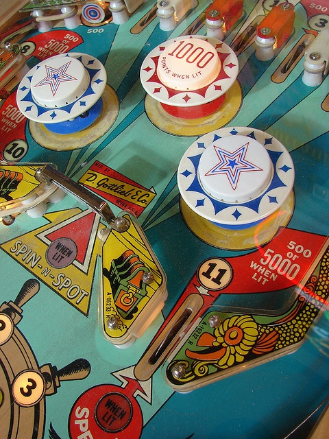 Pinball graphics (big bumpers with saturated colors bring a nostalgic feel to the photo)
